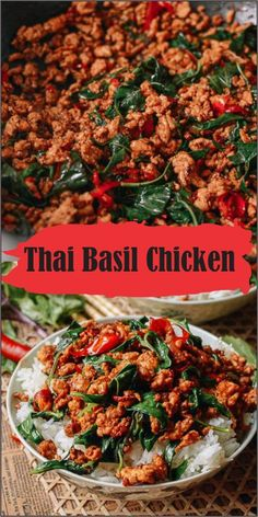 Thai basil chicken recipe takes just 3 minutes to prepare and 7 minutes to . This Thai basil chicken recipe takes just 3 minutes to prepare and 7 minutes to . This Thai basil chicken recipe takes just 3 minutes to prepare and 7 minutes to . Healthy Diet Recipes, Healthy Meal Prep, Healthy Eating, Cooking Recipes, Keto Recipes, Easy Thai Recipes, Healthy Thai Food, Asian Food Recipes, Thai Curry Recipes