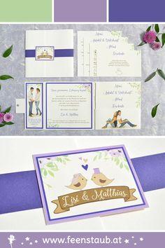 Pocketfold oder Pocketeinladungen bieten viel Platz für euren Einladungstext für die Hochzeit. Mit eurem eigenen Foto oder Bild werden eure Einladungen noch persönlicher. Diese Hochzeitseinladung wurde in lila mit zwei süßen Vögeln designt. Eine Banderole in Violett  setzt einen krativen Akzent. Wir entwerfen eure Einladungskarten nach euren Ideen.#feenstaub #pocketfold #hochzeitseinladungen #vögel #hochezeit Save The Date Karten, Frame, Lilac, Bunting Bag, Invitation Text, Map Invitation, Place Cards, Thanks Card, Anniversary
