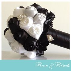 Small black, white and silver bridal bouquet by Rose & Birch www.roseandbirch.com Handmade bridal/wedding bouquets bouquet