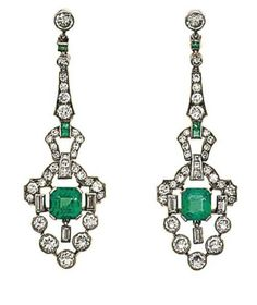 A pair of Art Deco emerald and diamond earrings   Each brilliant-cut diamond surmount suspending a tapered brilliant and single-cut diamond line with calibré emerald accents, terminating in an articulated pendant of geometric design centrally-set with a cut-cornered square emerald within an openwork surround of brilliant, single and baguette-cut diamonds, later pin fittings, circa 1925, 4.9cm long