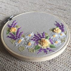 Wildflowers and roses hoop art