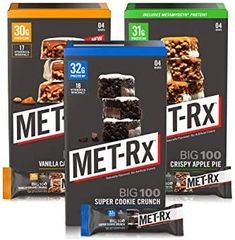 Amazon.com: MET-Rx Big 100 Colossal Protein Bars, Healthy Meal Replacement Snack, Super Cookie Crunch, Vanilla Caramel Churro, Crispy Apple Pie Variety, 12 Count: Health & Personal Care