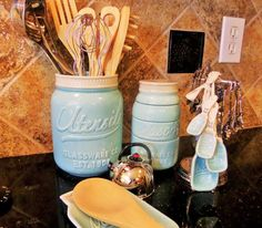 I just love these mason jar-themed utensil holders, spoon rest, and measuring… (Kitchen Gadgets Ideas)