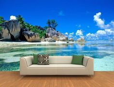 3d quarto papel de parede personalizado mural papel de parede não-tecido adesivos de parede 3 d ilha paisagem rock praia pintura da foto da parede 3d mural papel de parede
