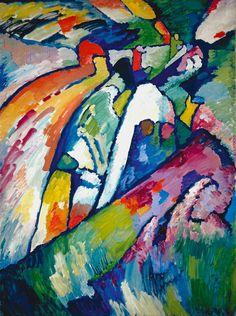 """Improvisation 7 (Sturm), 1910  Improvisation 7 (Tempête)  Huile sur toile, 131 x 97 cm  Galerie nationale Tretiakov, Moscou  © Adagp, Paris"" Tomado de http://mediation.centrepompidou.fr/education/ressources/ENS-kandinsky/ENS-kandinsky.html#"