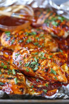 SUB G Hughes sugar free BBQ sauce BBQ Chicken Breasts - The most tender, juicy chicken grilled to PERFECTION, smothered in a thick, homemade BBQ sauce. You can also make this ahead of time!