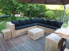 Lounge hoekbank oud steigerhout met 1 leuning voorraad (22131541) (lhb) | Lounge-banken & stoelen | JORG`S Houten Meubelen