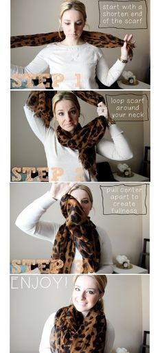 TheKinchLife: Scarf Tying Tutorial-- 3 easy steps to a full & flattering scarf.