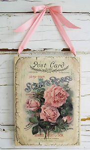 Shabby Roses Postcard Wall Decor Sign Plaque French Country Vintage Style Chic