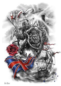Tattoodo tattoo artist Rui Plee: hello ,I am a tattooer from Portugal . I started tattooing a little time ago but I was always a pa. Half Sleeve Tattoos Designs, Cross Tattoo Designs, Best Sleeve Tattoos, Mens Tattoos, Design Tattoos, Tatoos, Armour Tattoo, Shield Tattoo, Templar Knight Tattoo