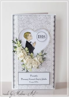 First Communion Cards, First Communion Invitations, First Holy Communion, Baptism Gifts, Aga, Baby Cards, Cute Cards, Quilling, Invitation Cards