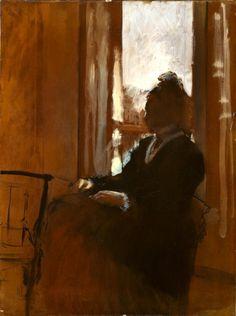 Edgar Degas, Woman at the Window Courtauld Collection, London. Love how Degas tells us everything with no detail whatsoever Edgar Degas, Degas Paintings, Paintings I Love, Degas Drawings, Manet, Art Ancien, Window Art, Art Uk, Renoir