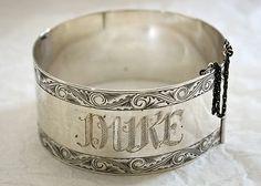 Antique dog collar, silver, Victorian circa 1880 (Duke) (BB)#