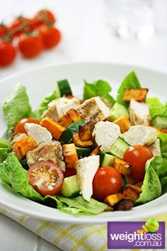 Healthy Lunch Recipes: Chicken and Sweet Potato Salad. #HealthyRecipes #DietRecipes #WeightlossRecipes weightloss.com.au