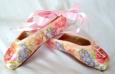 So pretty - floral decoupage pointe shoes - summer flowers beautiful in any season