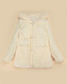 White Cute Furry Bear Ears Hooded Jacket