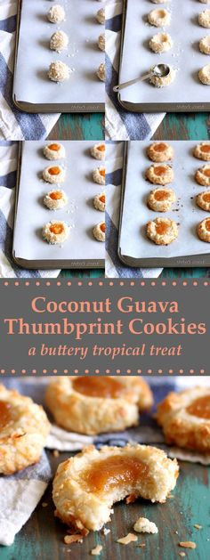 Coconut Guava Thumbprint Cookies are like buttery little tropical gems covered in coconut flakes and topped with a dollop of guava jam! Guava Desserts, Guava Recipes, Recipes With Guava Jelly, Party Desserts, Thumbprint Cookies, Cookie Recipes, Dessert Recipes, Bar Recipes, Brownie Recipes