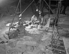From the archives: Museum staff installing sauropod dinosaur tracks from Texas in one of the dinosaur halls, April 1952    © AMNH Library/Image #2A2689
