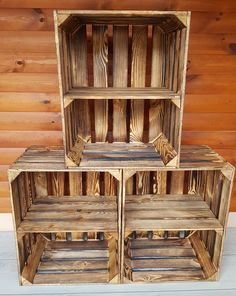 Wooden crates with short or long shelf - natural - burnt - storage - vintage Vintage Home Decor, Diy Home Decor, Vintage Wooden Crates, Fruit Storage, Box Shelves, Crate Shelves, Recycled Wood, My New Room, Room Decor Bedroom