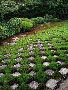 Moss garden at Tofuku-ji temple, Kyoto, Japan: designed by Mirei SHIGEMORI