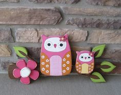 Owls on a Branch with a Hot pink flower for home decor by lisabees, $42.95