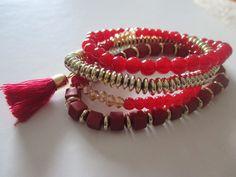 Bracelets – set of 4, tassel and boho style RED/GOLD **NEW – UK Seller – Boho