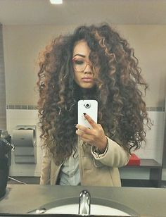 Thick Curly Hair-- for me, whenever i decide to grow my hair out Love Hair, Big Hair, Gorgeous Hair, Pretty Hair, Thick Curly Hair, Curly Hair Styles, Natural Hair Styles, Curly Girl, Straight Hair