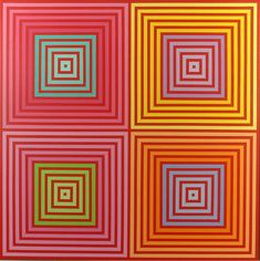 Op Art pioneer Richard Anuszkiewicz's dancing colors are like Red Bull for your retinas Hard Edge Painting, Painting Collage, Opt Art, Art Optical, Optical Illusions, Kinetic Art, Sculptures For Sale, Realism Art, Geometric Art