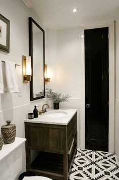 Bathroom | Small Bathroom | Wood Vanity | Aztec floor | Small door | black door