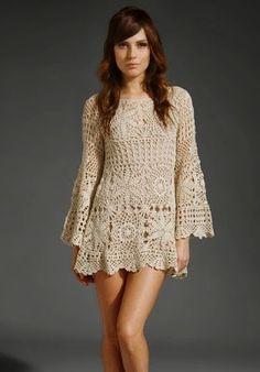 crochet Pattern tunic long sleeve dress summer sexy lace by CopperLife Gilet Crochet, Crochet Tunic, Crochet Clothes, Crochet Lace, Irish Crochet, Double Crochet, Single Crochet, Crochet Dresses, Mode Crochet