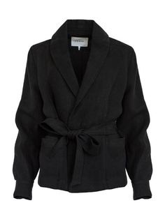 Shop Tradesy for always-authentic treasures including this new size 4 (S) FRAME Black Denim Wrap Pocket Linen Jacket Blazer Size 4 (S). Shipping always included. The Undone, Everyday Casual Outfits, Linen Jackets, Character Outfits, Frame Denim, Wrap Style, Black Denim, Blazer Jacket, What To Wear