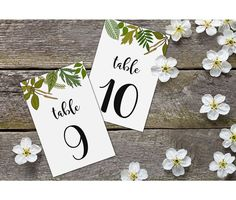 Printable Table Number Cards Leaves  5x7 or 6x4 by Dantell on Etsy