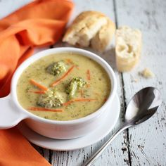 You'll never miss the fat in this lightened up version of Broccoli Cheddar Soup!
