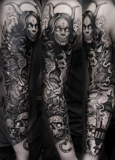 Macabre Sleeve Tattoo by Grindesign