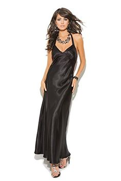 406bb99fa6e Womens Charmeuse Sexy Hot Satin Halter Neck Full Length Gown 2X Black      Find