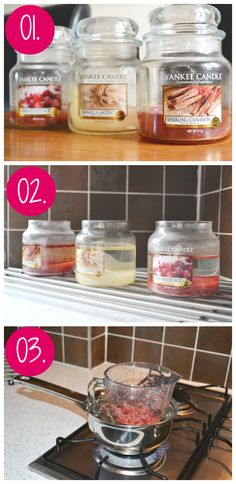 upcycle baby jars into candles steps 1 to 3