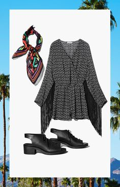 Twirl to the music in this black & white romper with fringed sleeves. Accessorize with a vivid printed handkerchief and black lace-up sandals.│ H&M Loves Coachella