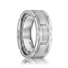 TORRANCE Flat Cobalt Ring with Milled Pattern and Satin Center | 6mm, 7mm & 8mm