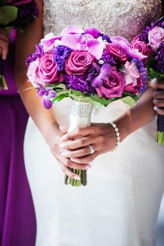 Purple and Fuchsia Bouquet With Orchids and Roses