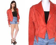 Fringe Jacket Red Suede 80s Crop Jacket by GravelGhostVintage