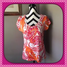 FUN LIZ CLAIBORNE SUMMER TOP Liz Claiborne Summer Top in fun Summer colors!  18 1/2 inches pit to pit. 25 inches top to bottom.  60% Cotton 40% Modal. Excellent condition. Liz Claiborne Tops