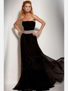 Black Beaded Natural Waist Strapless Sweep Train Chiffon Prom Dress - Didobridal