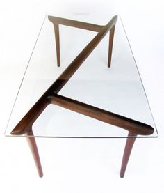 Modern Table with Zigzag Wooden Trestle – Ko Table