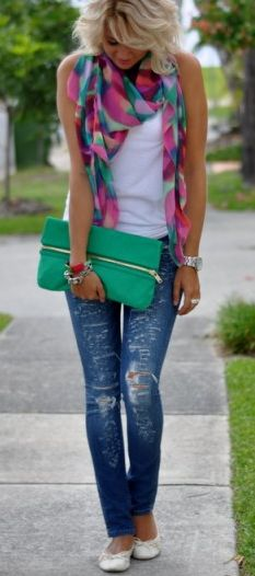 patterned scarf, white shirt, blue jeans, white ballet flats, green clutch