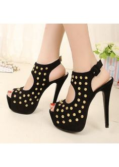 Punk Style Peep Toe Rivets Embellishment Black Suede