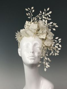 RTS OOAK Couture Fascinator w handmade fiber cloth por apatedesigns