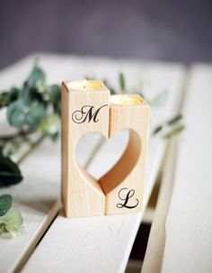 Wedding Candle Holder Heart Candle holders Wood Rustic Candle