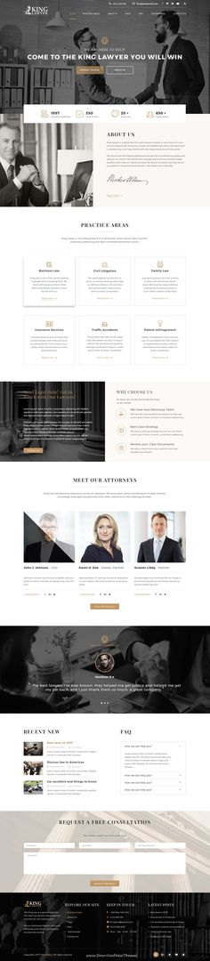 Kinglaw is clean and modern design PSD template for #attorney and #lawyers website with 4 homepage layouts and 23 layered PSD pages to live preview & download click on Visit #psdmockups