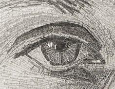 Jamie Poole : Portraits Réalistes Faits de Centaines de Lignes de Poesie