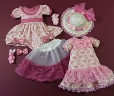 """Roses & Lace Set - Two dresses, and one underskirt.  Hat, mini Bunny, Hairbow and mini Ted. All fits Little Darling 13"""" Doll."""